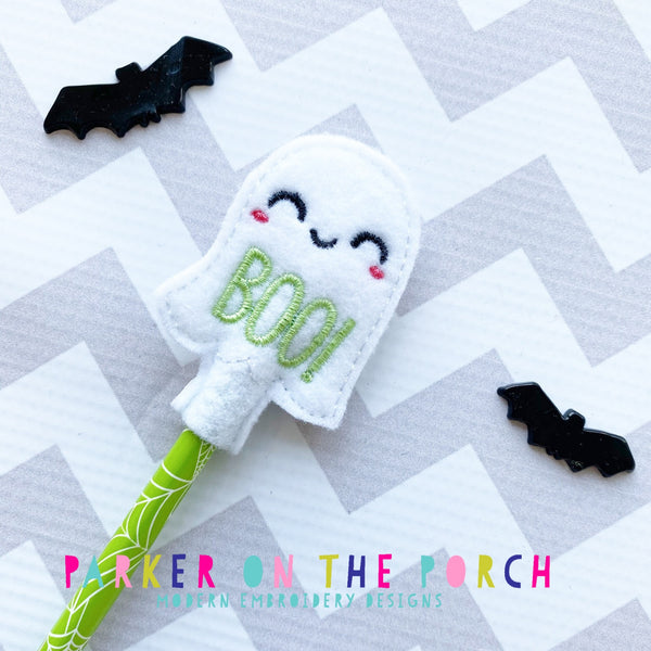 Digital Download- Ghost Pencil Topper - in the hoop machine embroidery ITH pattern
