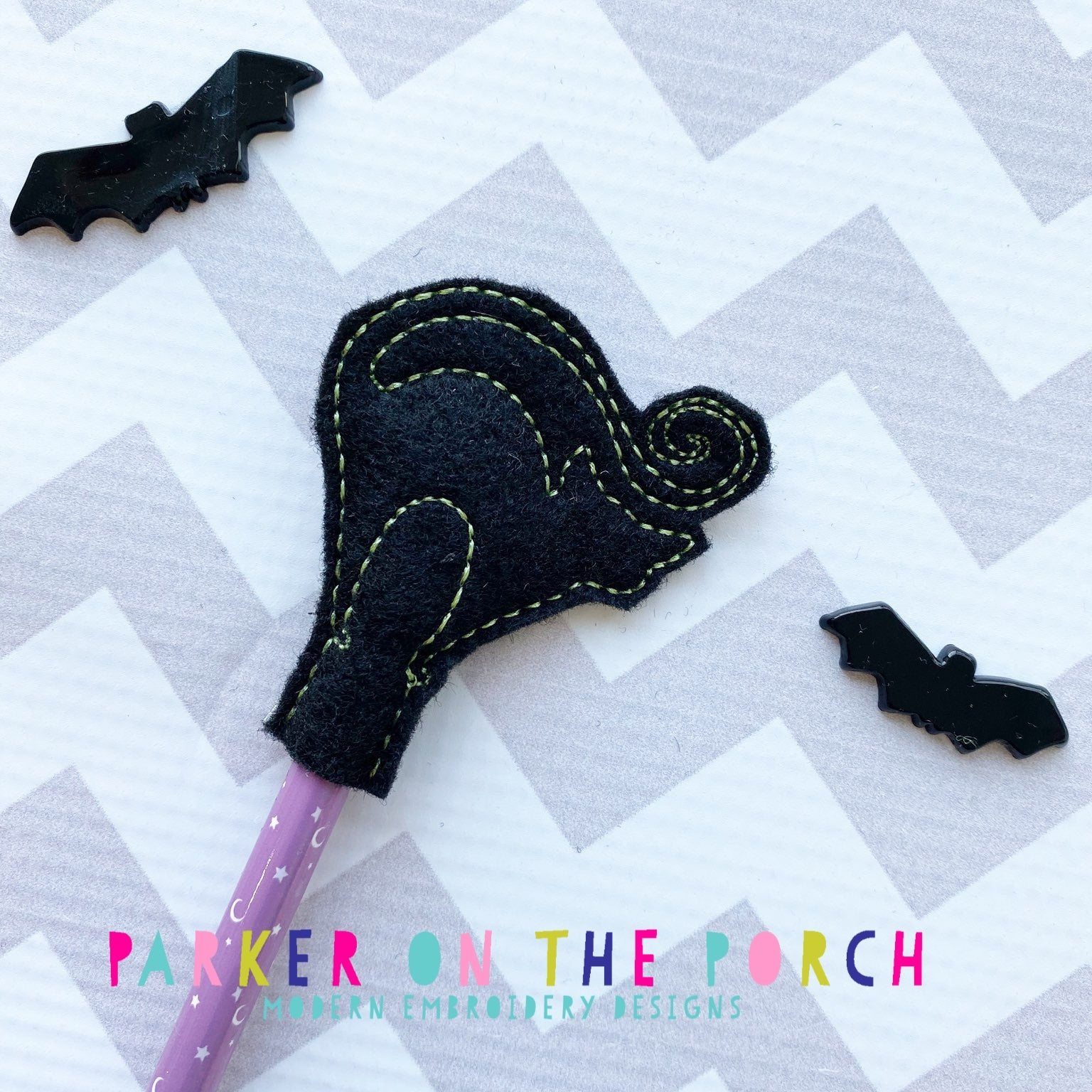 Digital Download-Black Cat Pencil Topper - in the hoop machine embroidery ITH pattern