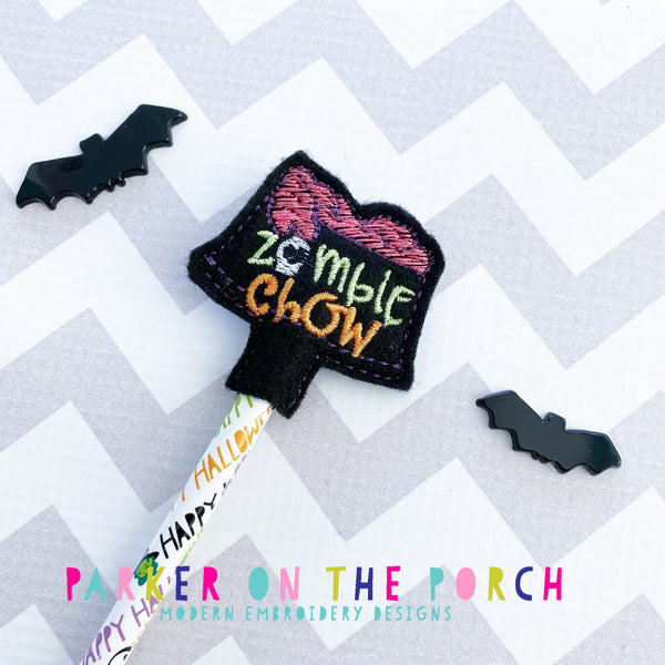 Digital Download- Zombie Chow Pencil Topper - in the hoop machine embroidery ITH pattern
