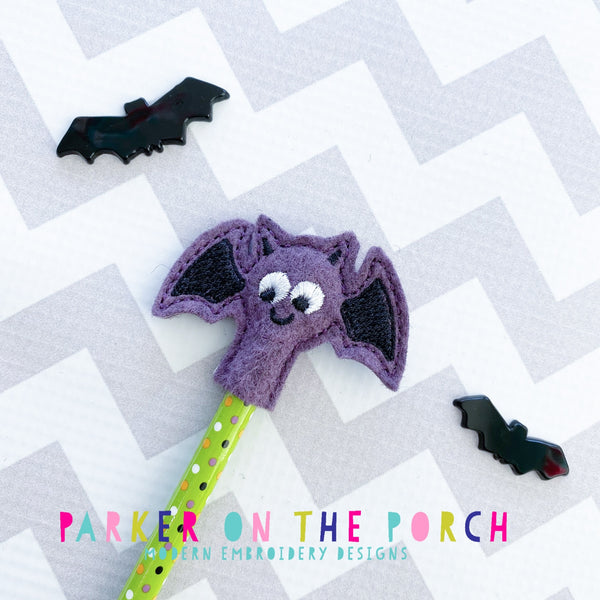 Digital Download- Bat Pencil Topper - in the hoop machine embroidery ITH pattern