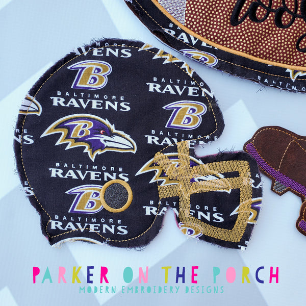 Digital Download- Football Helmet Banner - in the hoop machine embroidery ITH pattern