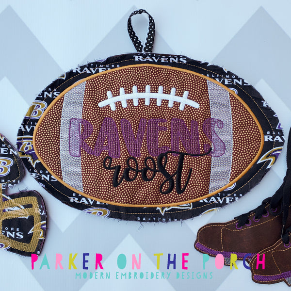 Digital Download- Football 2 Banner - in the hoop machine embroidery ITH pattern