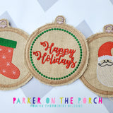 Digital Download- Embroidery Hoop Christmas Banner Set - in the hoop machine embroidery ITH pattern