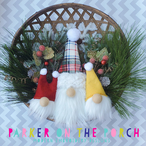 Digital Download- Gnome Wreath Stuffie - in the hoop machine embroidery ITH pattern