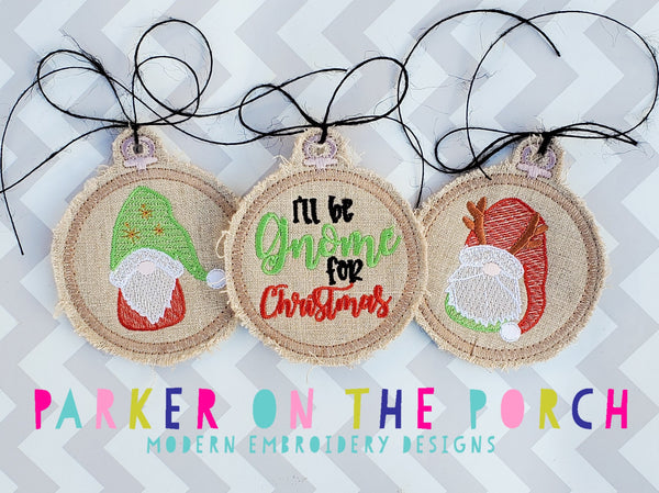 Digital Download- Embroidery Hoop Gnome Ornaments - in the hoop machine embroidery ITH pattern