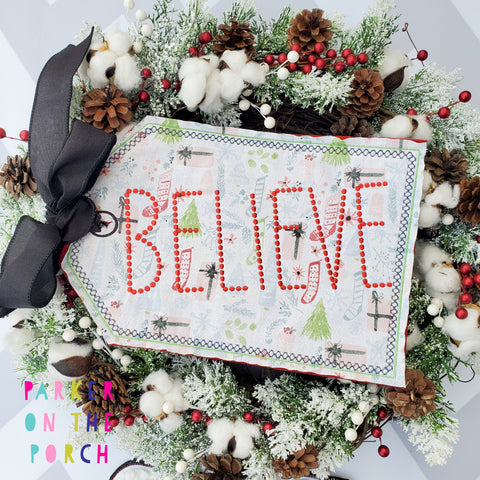 Digital Download- Believe Tag Banner - in the hoop machine embroidery ITH pattern