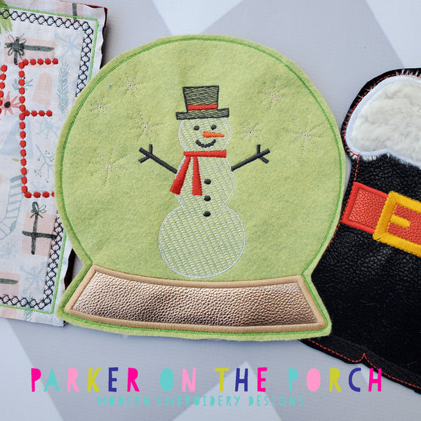 Digital Download- Snow Globe Banner - in the hoop machine embroidery ITH pattern