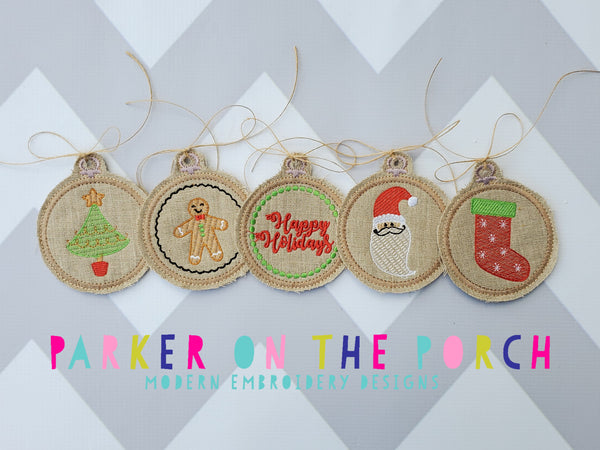 Digital Download- Embroidery Hoop Ornament Christmas  Set