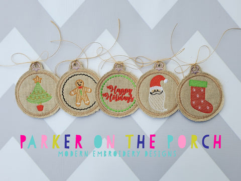 Digital Download- Embroidery Hoop Ornament Christmas  Set - in the hoop machine embroidery ITH pattern
