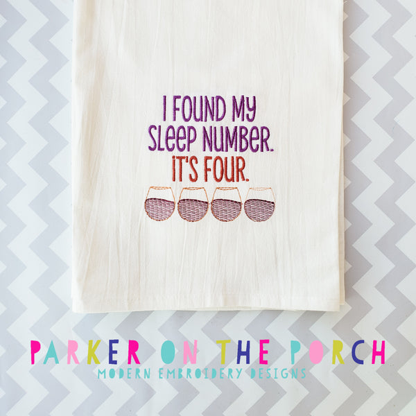 Digital Download- My Sleep Number Is Embroidery Fill