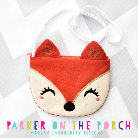 Retailer Digital Download- Top Zip Fox Zipper Bag - in the hoop machine embroidery ITH pattern