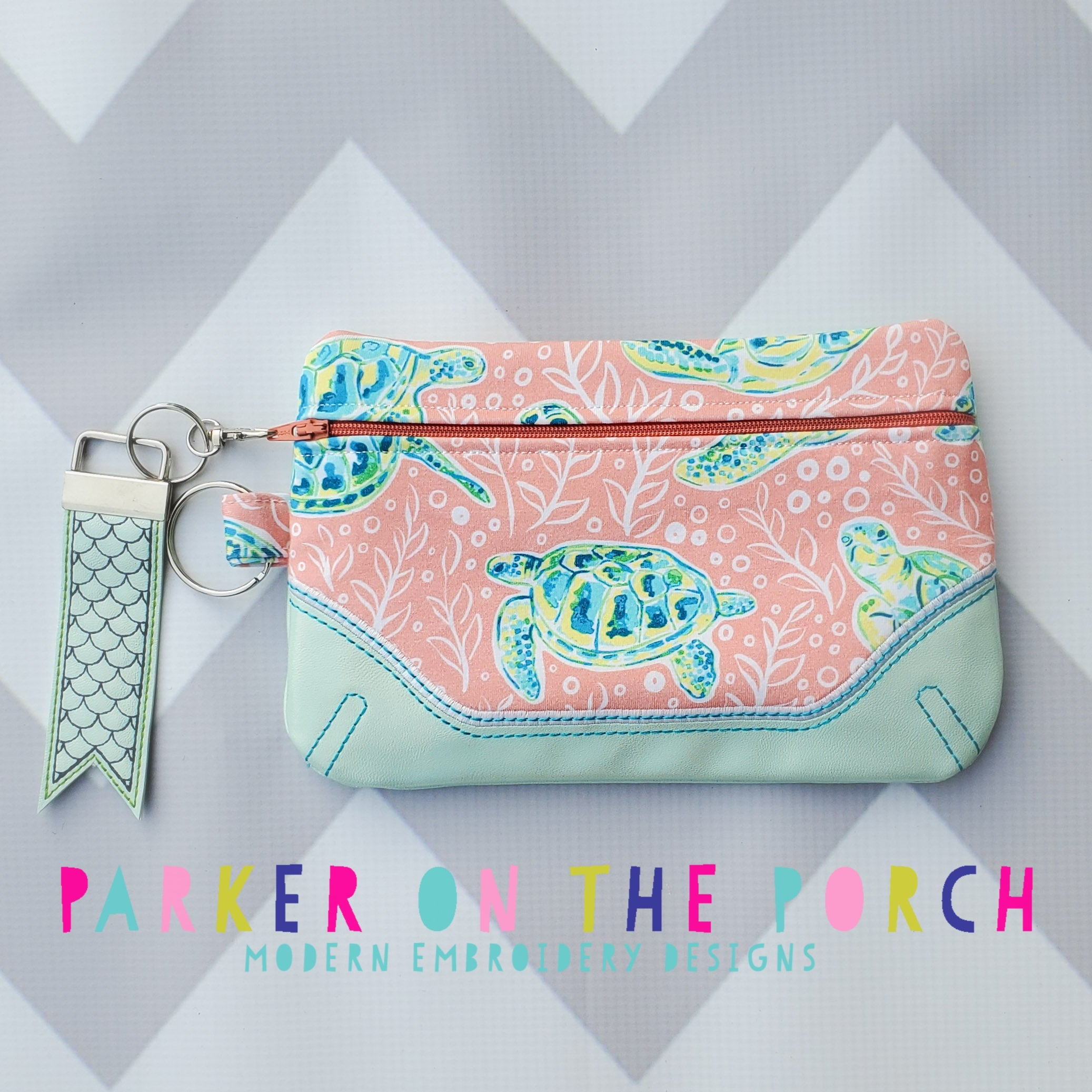 Digital Download- Front Zip- Clutch 2020 Zipper Bag - in the hoop machine embroidery ITH pattern