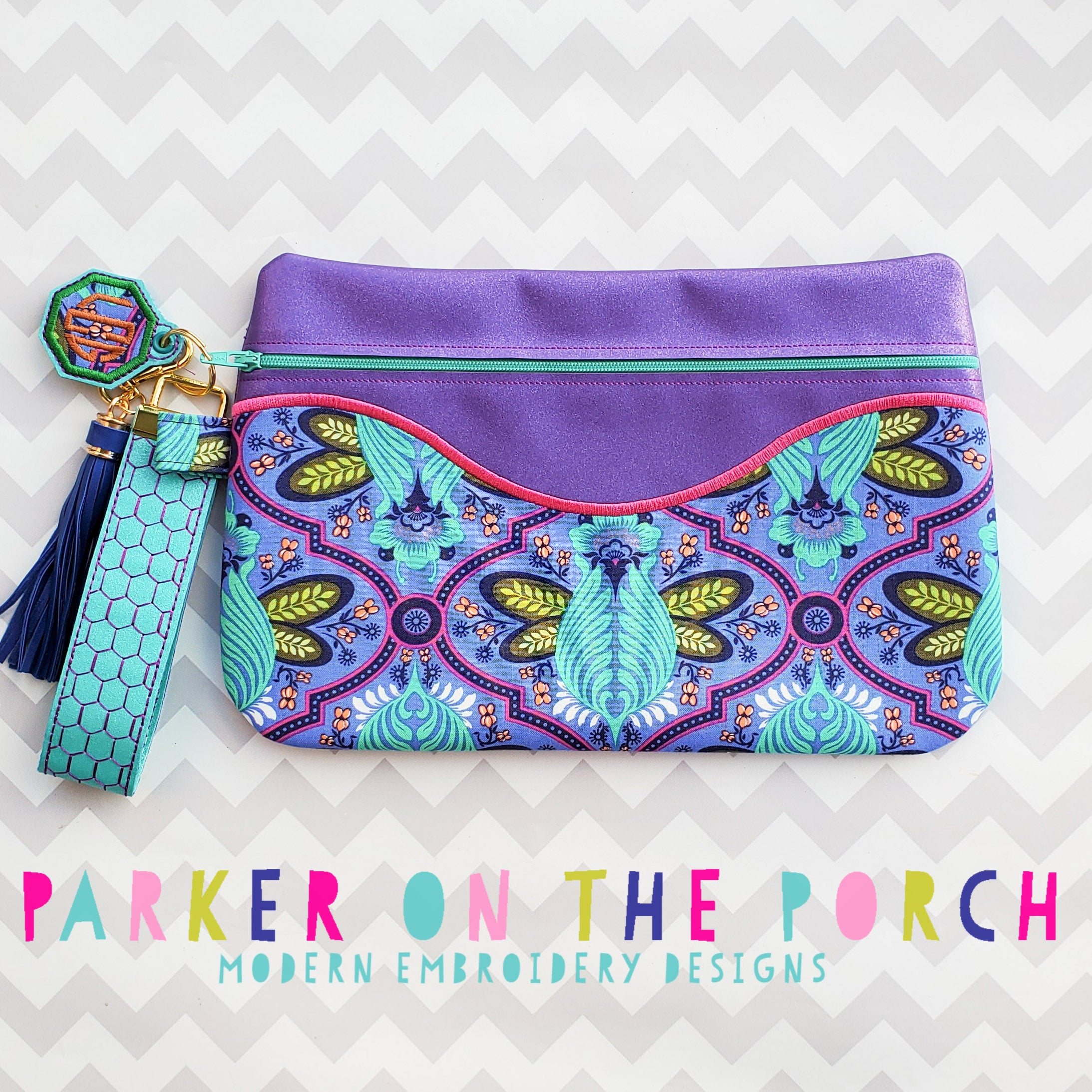 Digital Download- The Daybreak - Front Zip Full Front Applique Zipper Bag - in the hoop machine embroidery ITH pattern