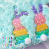 Digital Download- Shabby Applique Bunny Trio - Embroidery Fill - in the hoop machine embroidery ITH pattern