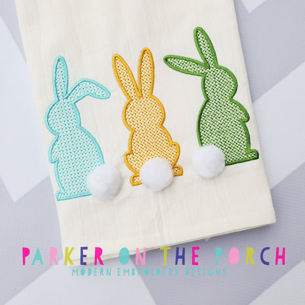 Digital Download- Cross Stitch Bunny Trio - Embroidery Fill - in the hoop machine embroidery ITH pattern
