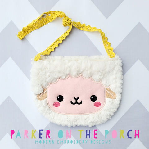 Retailer Digital Download- Lamb Top Zip Zipper Bag - in the hoop machine embroidery ITH pattern