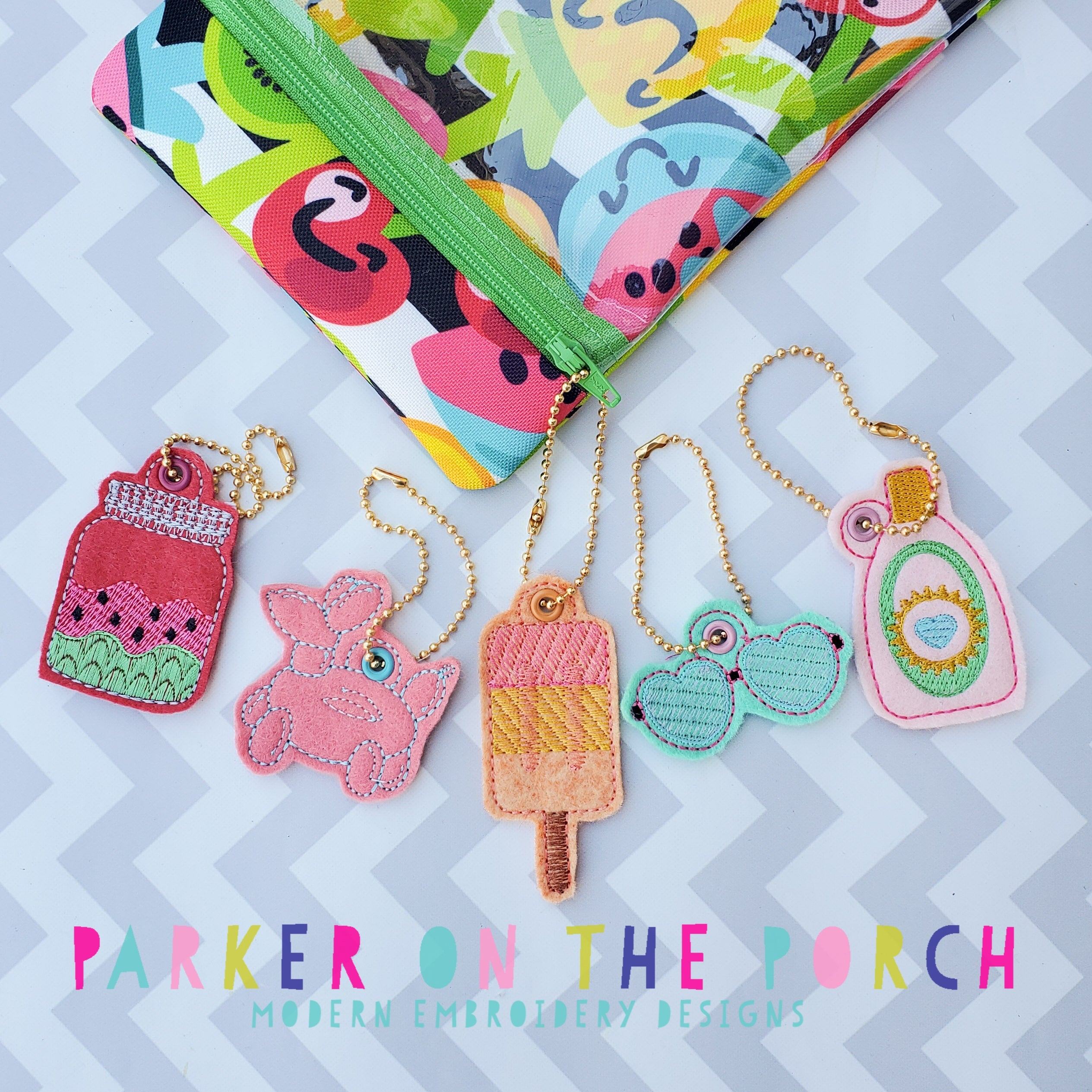 Digital Download- Summer Fun Charm Set 1 - in the hoop machine embroidery ITH pattern
