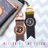 Digital Download- Monogram Flag Fobs KeyFob- Circle - in the hoop machine embroidery ITH pattern