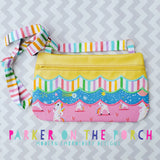 Digital Download- Front Zip- Scallop Zipper Bag - in the hoop machine embroidery ITH pattern