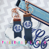 Digital Download- Monogram Flag Fobs KeyFob- Octagon - in the hoop machine embroidery ITH pattern