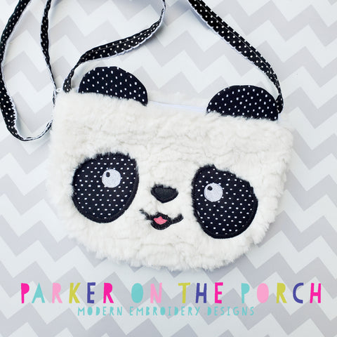 Retailer Digital Download- Top Zip Panda Zipper Bag - in the hoop machine embroidery ITH pattern