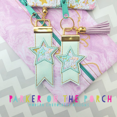 Digital Download- Monogram Flag Fob- Star - in the hoop machine embroidery ITH pattern