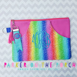 Digital Download- #3 Top Zip Haute Pocket Zipper Bag - in the hoop machine embroidery ITH pattern