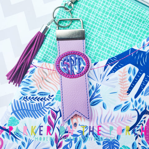 Digital Download- Monogram Flag Fob Keyfob- Oval - in the hoop machine embroidery ITH pattern