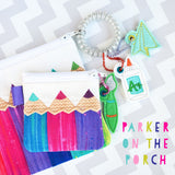 Digital Download- Pop of Color Top Zip Zipper Bag - in the hoop machine embroidery ITH pattern