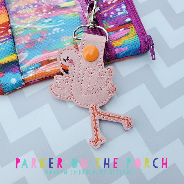 Digital Download- Flamingo 2 Snaptab - in the hoop machine embroidery ITH pattern
