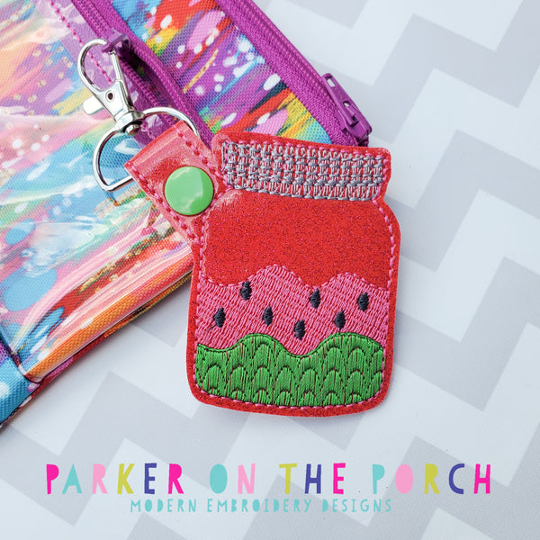 Digital Download- Watermelon Mason Jar Snaptab - in the hoop machine embroidery ITH pattern