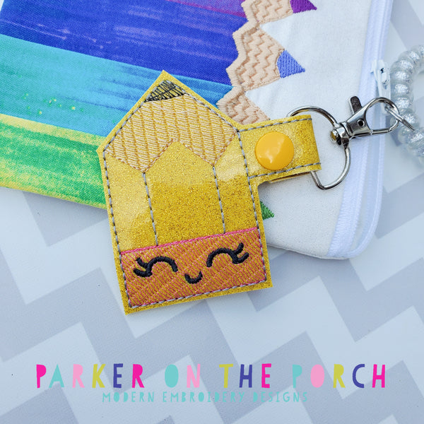 Digital Download - Kawaii Pencil Snaptab - in the hoop machine embroidery ITH pattern