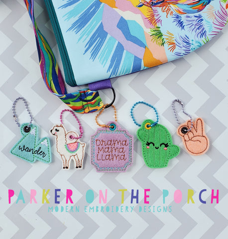 Digital Download - Llama Party Charm Set - in the hoop machine embroidery ITH pattern