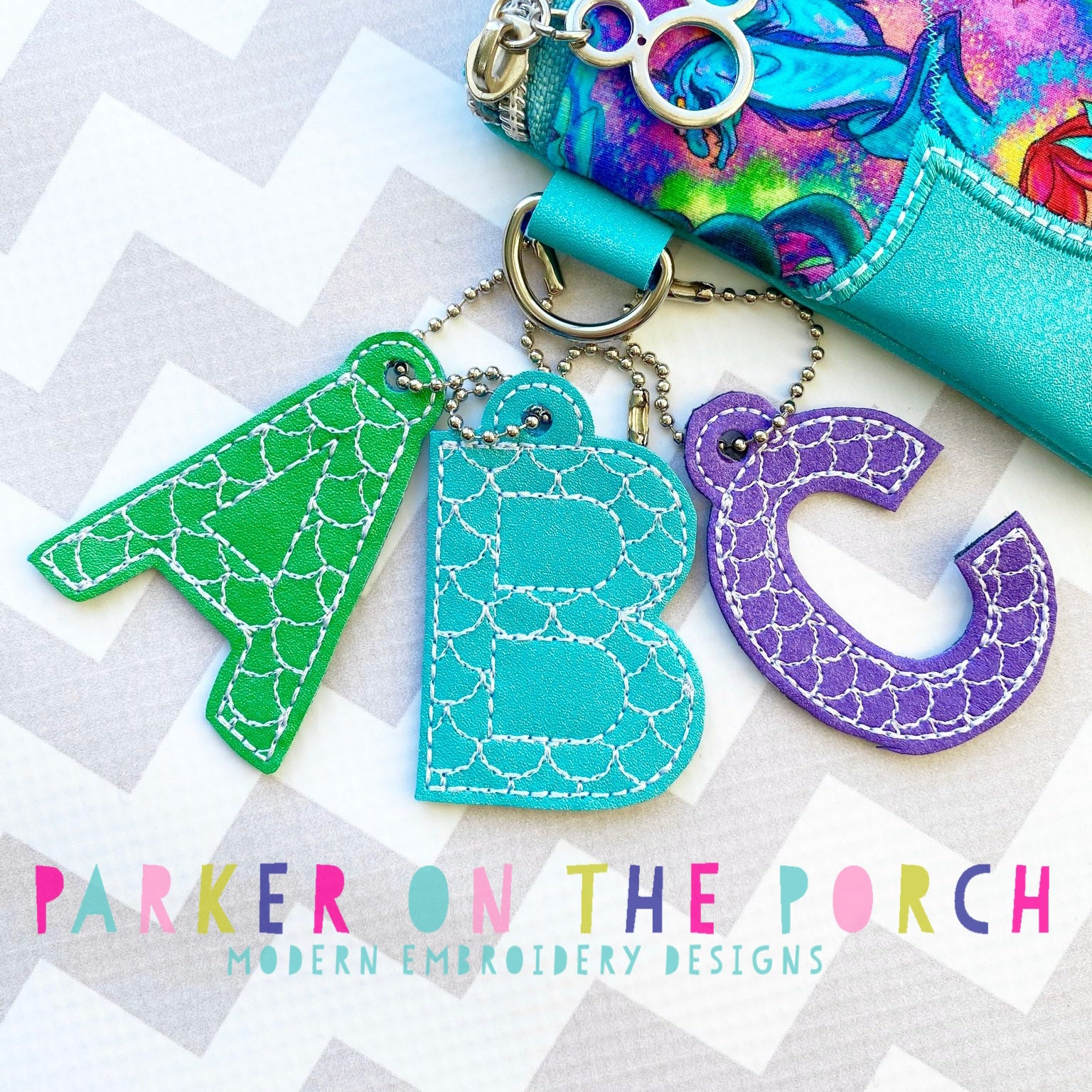 Digital Download- Alpha Mini Monogram Charm - Mermaid Scales
