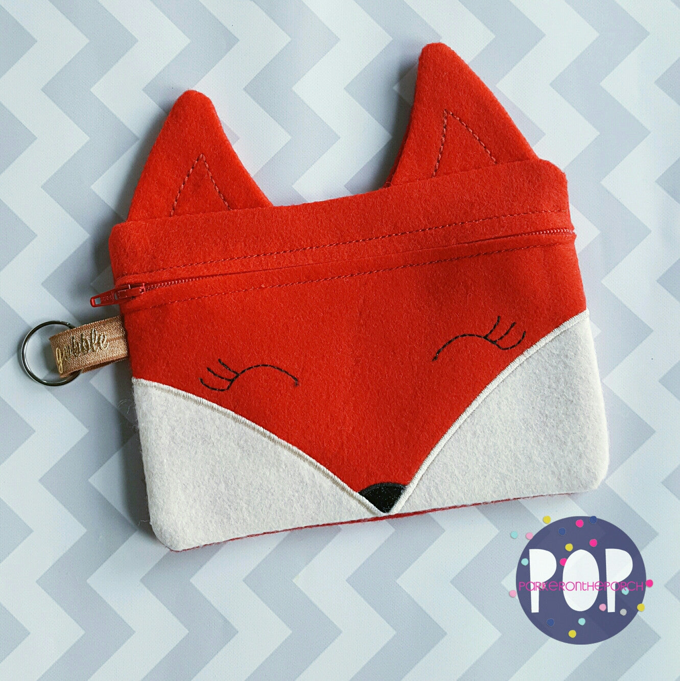 Digital Download - Fox Zipper Bag - in the hoop machine embroidery ITH pattern
