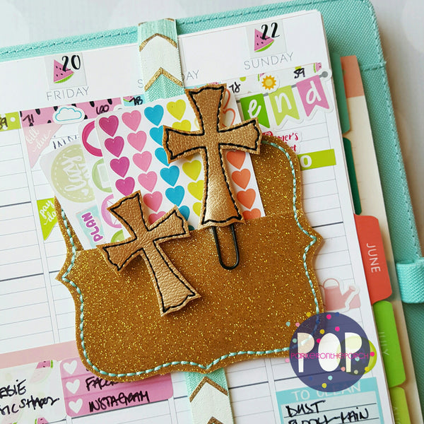 Digital Download- Cross Feltie & Planner Clip Set - in the hoop machine embroidery ITH pattern