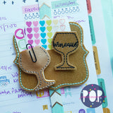 Digital Download- Wineaux Feltie & Planner Clip Set - in the hoop machine embroidery
