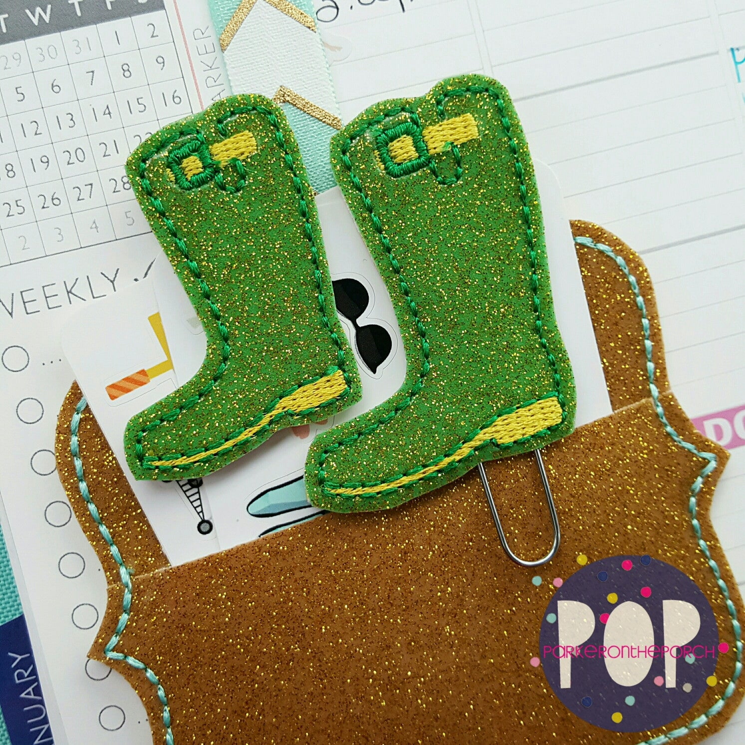 Digital Download - Rainboot Feltie & Planner Clip Design - Parker on the Porch, LLC