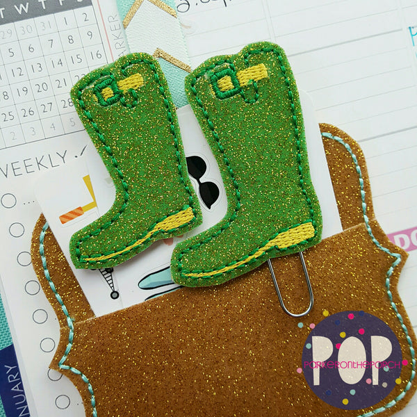 Digital Download - Rainboot Feltie & Planner Clip Design - in the hoop machine embroidery ITH pattern