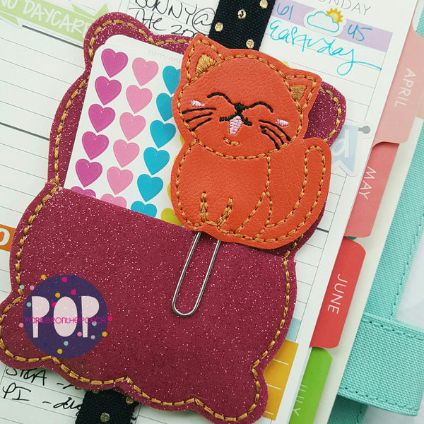 Digital Download- Kitty Cat Feltie & Planner Clip Design - in the hoop machine embroidery ITH pattern