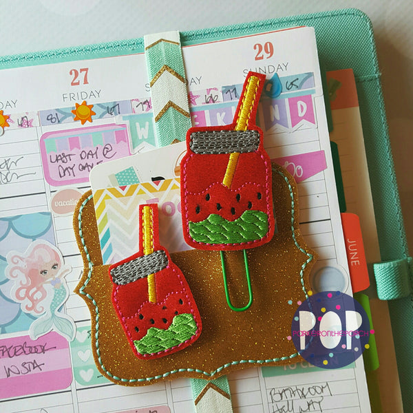 Digital Download- Watermelon Mason Jar Feltie & Planner Clip Set - in the hoop machine embroidery ITH pattern