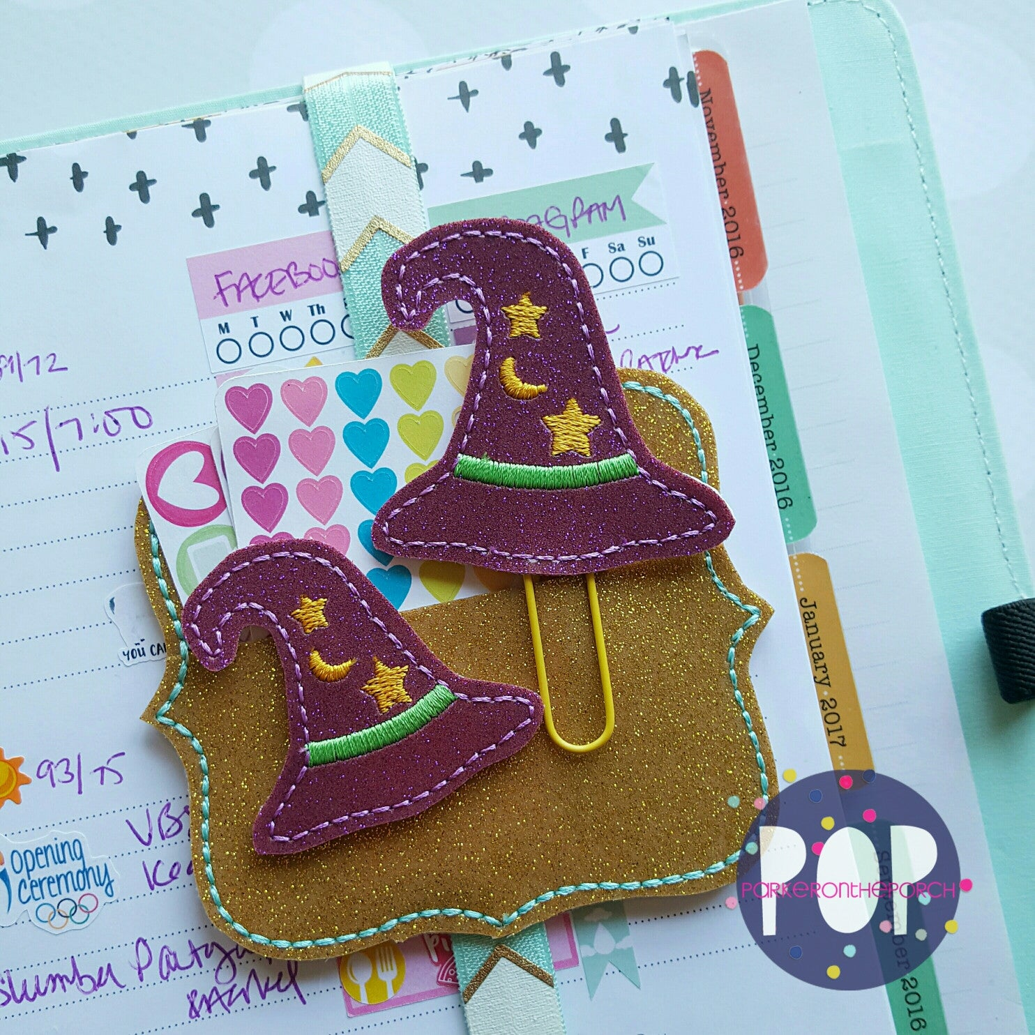 Digital Download- Witch Hat Planner Clip & Feltie Set - in the hoop machine embroidery