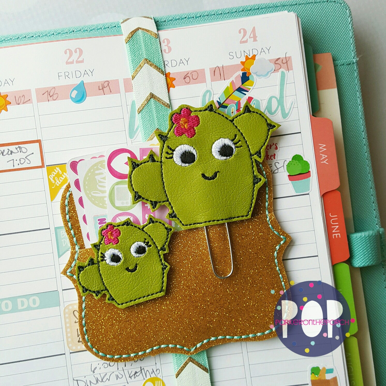 Digital Download - Cactus Feltie & Planner Clip Design - in the hoop machine embroidery ITH pattern