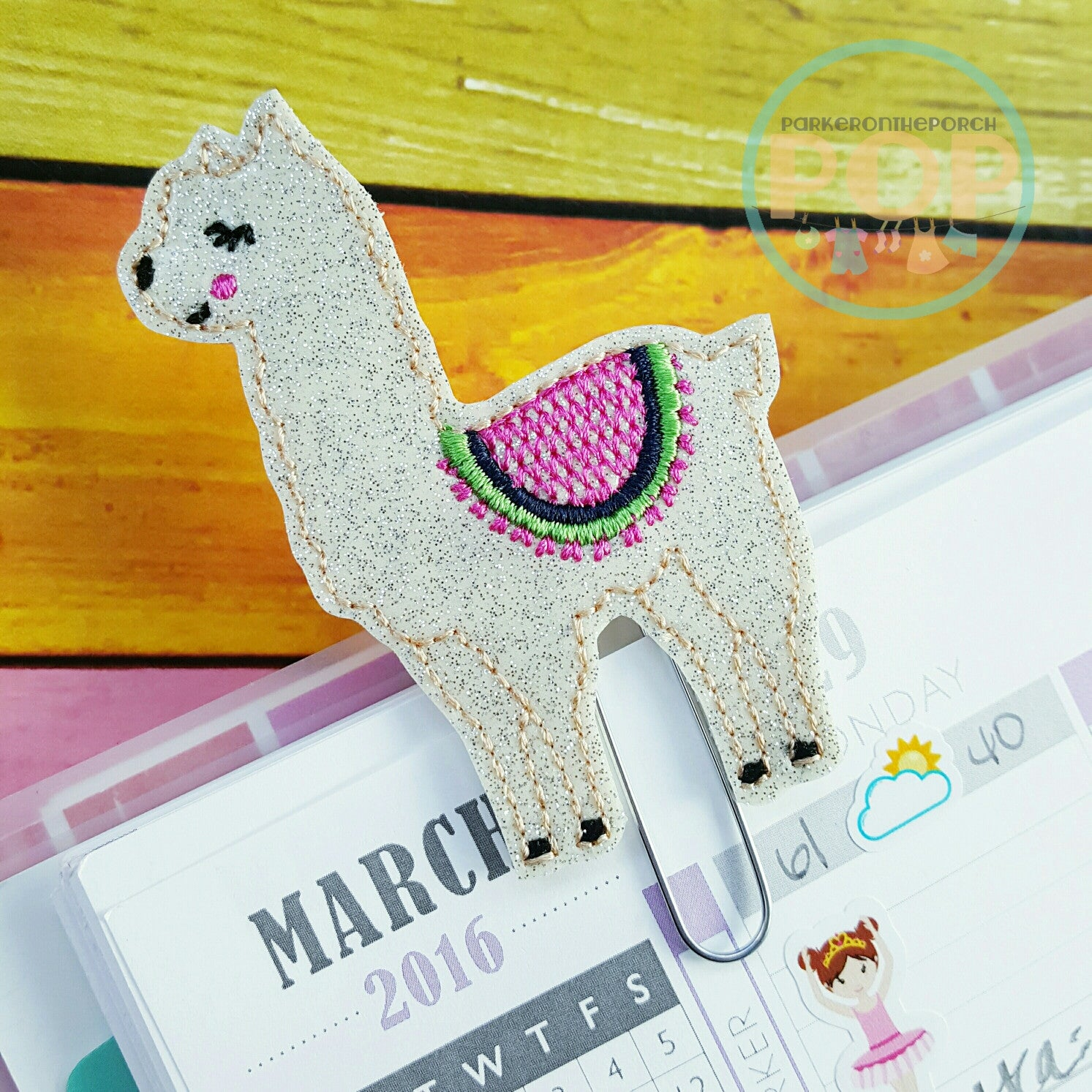 Digital Download-  Llama Feltie & Planner Clip Design - in the hoop machine embroidery ITH pattern