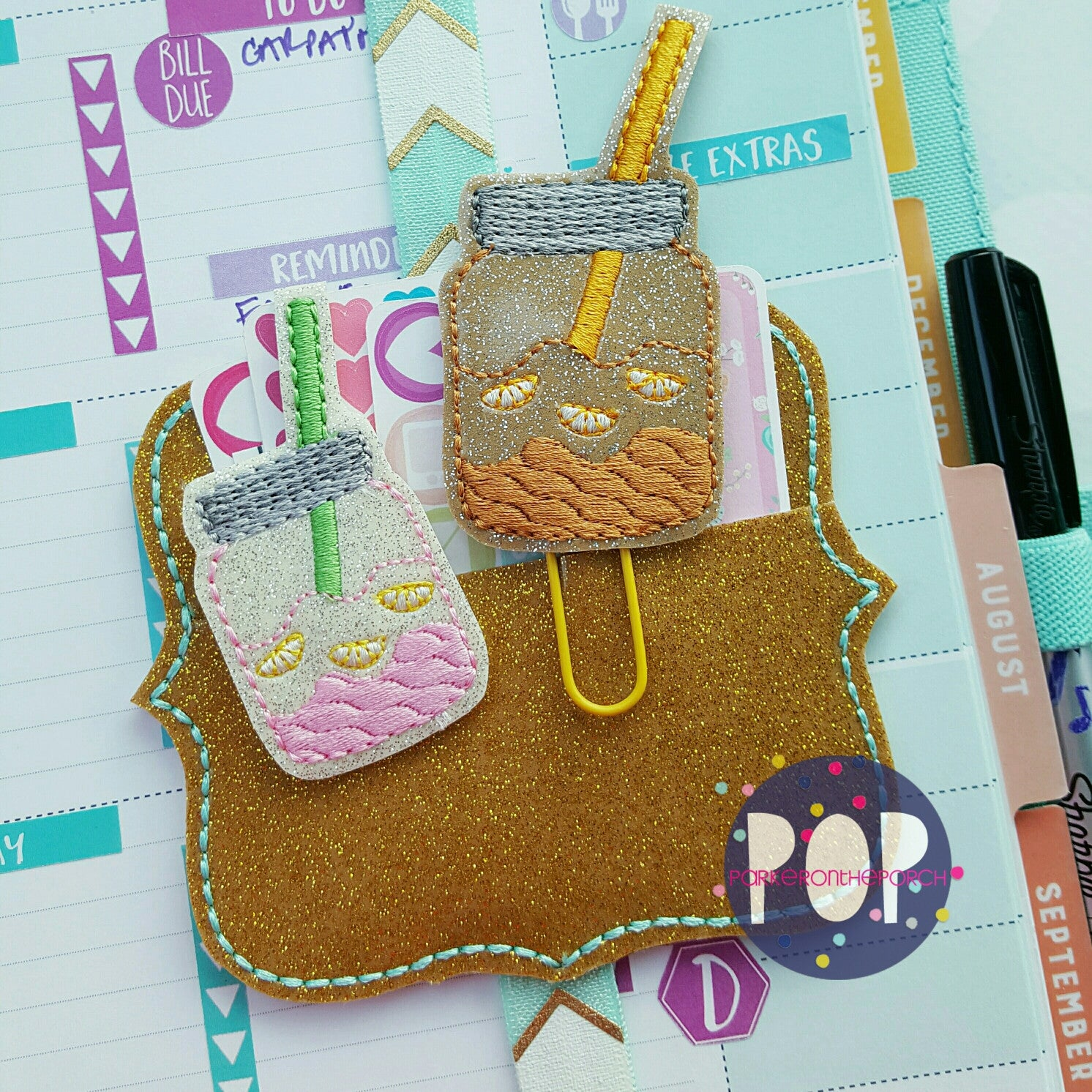 Digital Download- Mason Jar Sweet Tea and Lemonade Jar Planner Clip & Feltie Set - in the hoop machine embroidery