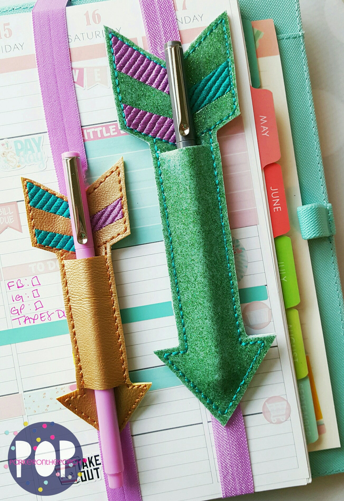 Digital Download - Planner Band Arrow Pen Holder (2 Sizes & 2 Styles) - in the hoop machine embroidery ITH pattern