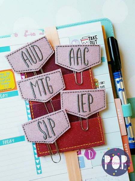 Digital Download-  So to Speak Set Of 5 Planner Clips (Speech Therapy) - in the hoop machine embroidery