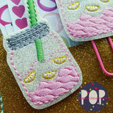 Digital Download- Mason Jar Sweet Tea and Lemonade Jar Planner Clip & Feltie Set - in the hoop machine embroidery ITH pattern