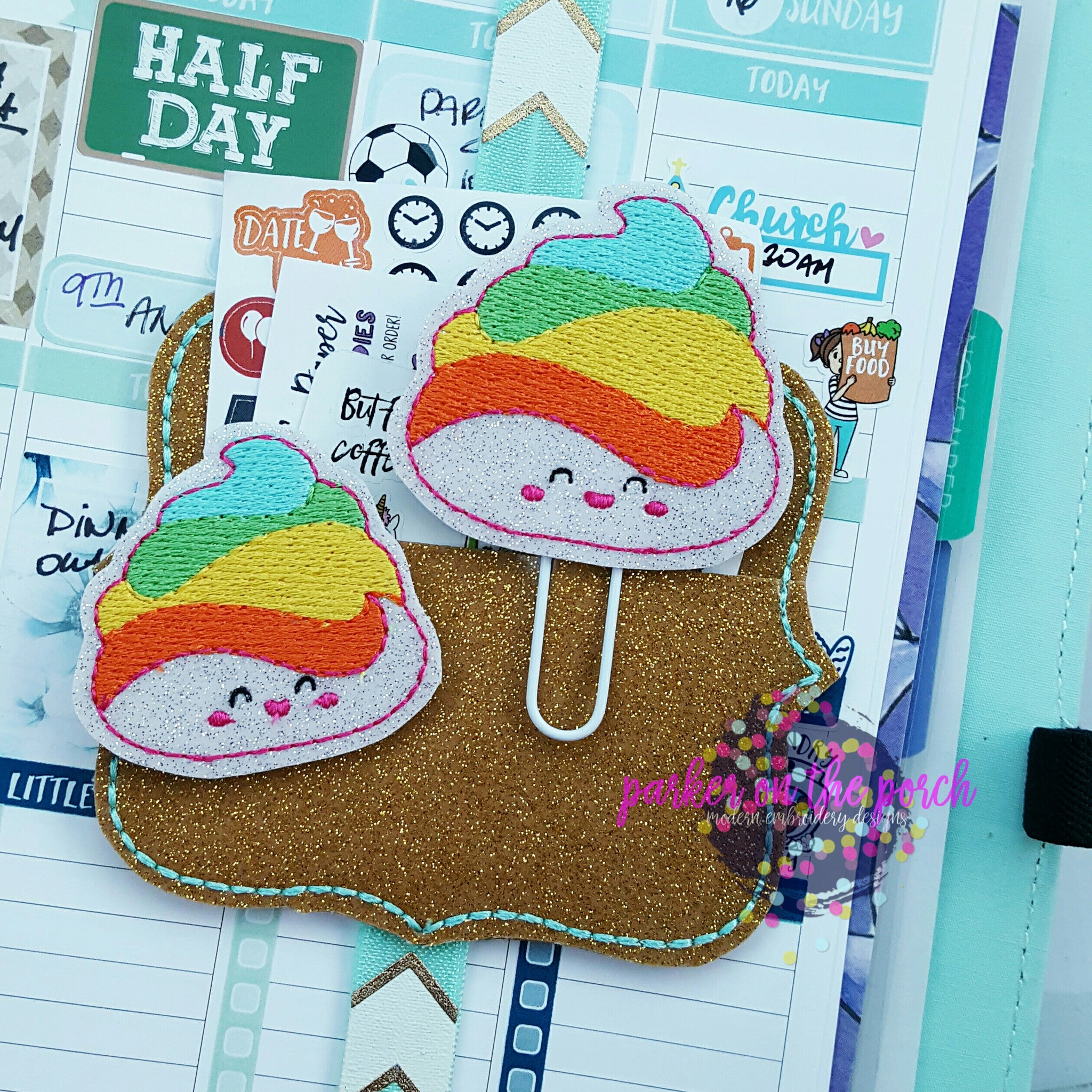 Digital Download- Unicorn Poop Planner Clip & Feltie Set - in the hoop machine embroidery ITH pattern