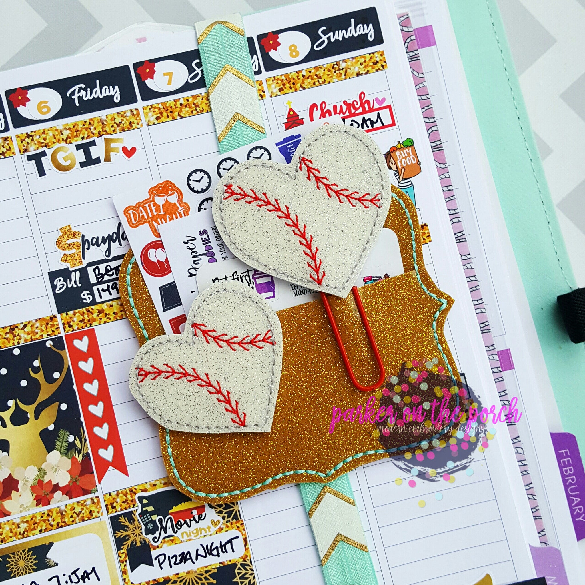 Digital Download - Baseball Heart Planner Clip & Feltie Set - Parker on the Porch, LLC